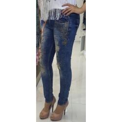 Jeans strass dorée