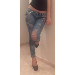 Jeans strass en mauve