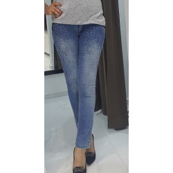 Jeans strass en bouttons