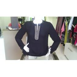 chemise noir en strass